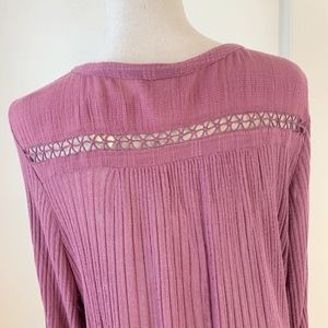 Lucky Brand Tops - NWT Lucky Brand Mauve Flowy Fit Henley Blouse {C}